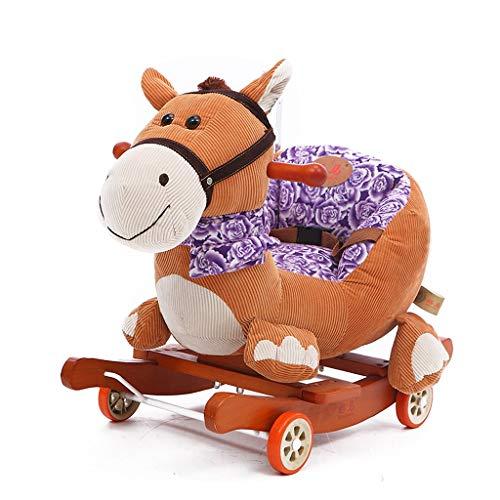 Rocking Chair Kid Rocking Horse Wooden, Plush Rocking Horse, Brown Donkey Rocking Horse for Baby 1-3 Years, Wooden Rocking Horse/Baby Rocker/Toddler Rocker/Zebra Rocker/Baby Boy Rocker/Girl Rocking Ho