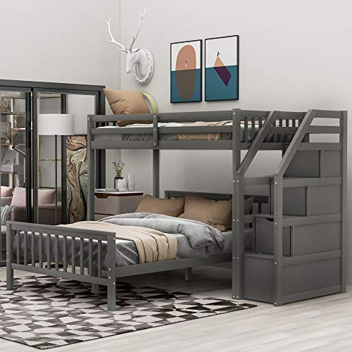 Twin Over Full Loft Bed with Storage, Wood Bunk Bed with Stairs,Gray