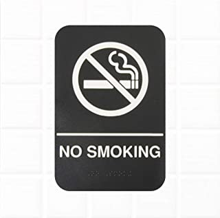 No Smoking Sign with Braille - Black and White, 9 x 6-inches, ADA Compliant No Smoking Sign for Door/Wall by Tezzorio