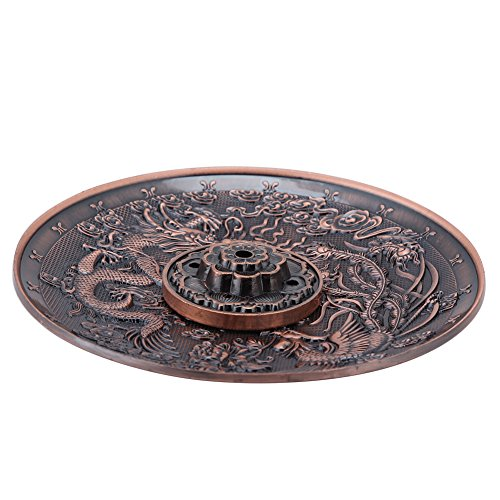 Räucherstäbchenhalter Vintage Räuchergefäß Abdeckung Bronze Chinese Dragon Phoenix Tibetischen Räucherstäbchen Vintage FengShui Dekoration(Red...