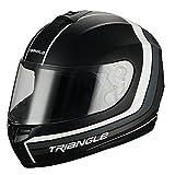 Triangle Full Face Matte Street Bike Motorcycle Helmet [DOT] (Large,Matte Black/Red)
