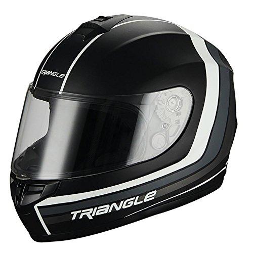TRIANGLE Full Face Matte Street Bike Motorcycle Helmet [DOT] (X-Large,Matte Black/White)