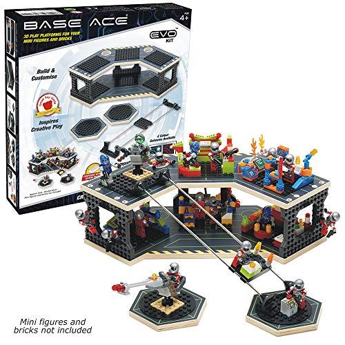 Base Ace Plataforma de Juego 3D para Minifiguras, Kit EVO con líneas Verdes, Compatible con Todas Las Marcas líderes de Ladrillos para construcción de Juguetes