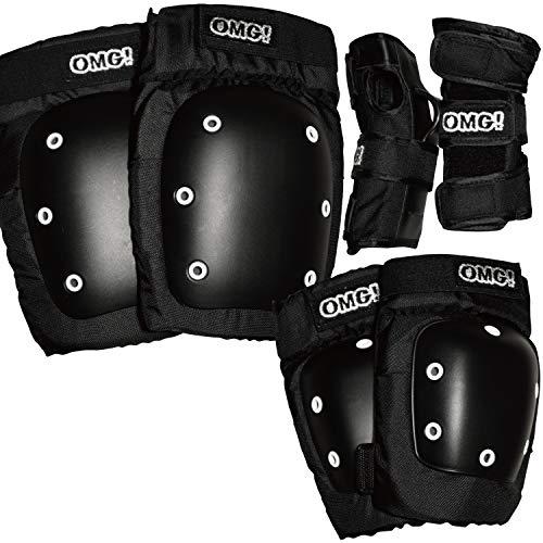 オーエムジー(OMG!) スケートボード スケボー プロテクター 膝パッド 肘パッド 手首パッド 3点セット Sサイズ ニーパッド エルボーパッド リストガード スノーボード スノボ キッズ KIDS 子供用 ブラック S10476