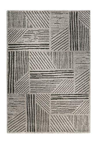 Tapis de qualité avec un design intemporel - Passe à la machine., Grau mit Schwarzem Streifenmuster, 120 x 170 cm