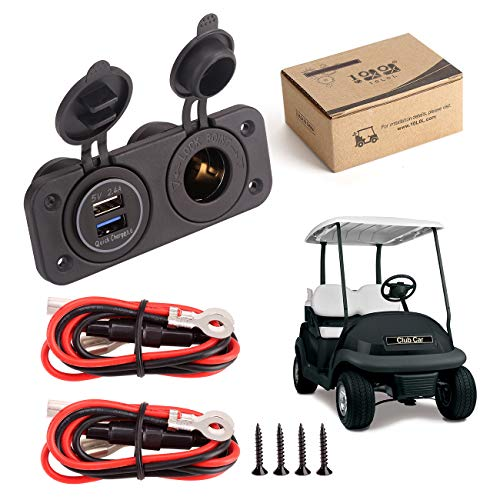 10L0L Golf Cart Cigarette Lighter Outlet & Quick Charge 3.0 DC 12V Input Waterproof USB Charger Power Socket Adapter Dual USB Ports Panel Universal for EZGO Club Car Yamaha Golf Cart Models