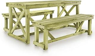 Amazonfr Table Et Banc En Bois Jardin