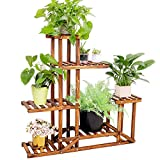unho Plants Stand Wooden Shelf Tiered Flower Rack Holder Planter Pots Shelves Display Multiple Plants Succulents Indoor Outdoor for Garden Patio Balcony Lawn 37.4x9.8x37.8in