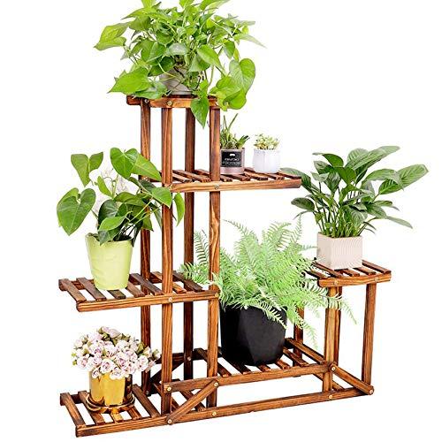 unho Plant Stand Wooden Shelf Tiered Flower Rack Holder Planter Pots Shelves Display Multiple Plants Succulents for Garden Patio Balcony Lawn Indoor Outdoor