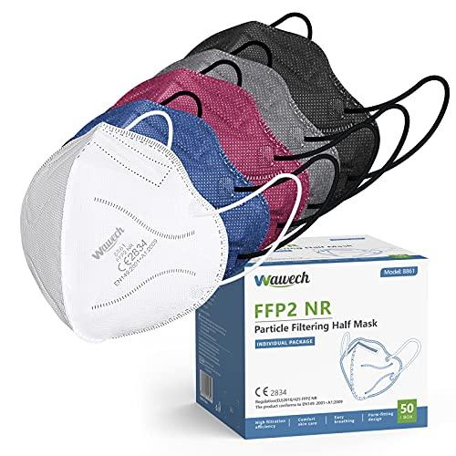 Wawech 50 bunte FFP2 Maske,farbig Atemschutzmaske CE Zertifiziert 5-Lagen einzelverpackt rot blau grau Mundschutzmaske Partikelfiltermaske mit 5 Farben