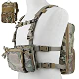 DETECH Tactical Vest Airsoft Ammo Chest Rig 5.56 9mm Magazine Carrier with Molle Flatpack Backpack (CP)