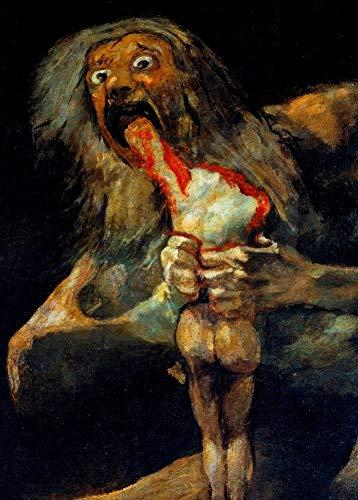 """Póster con la reproducción del cuadro de Francisco de Goya """"Saturno devorando a su hijo"""", parte de sus Pinturas negras, circa 1819-23, detallado, papel satinado, A3, 250 g/m², demonología, brujería, misterio y magia"""