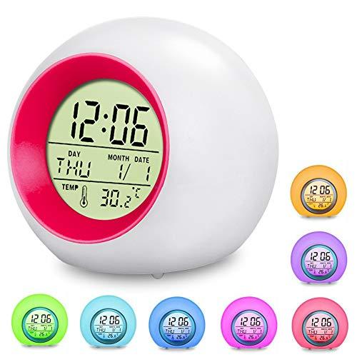 swonuk Despertador para Niños,Reloj Despertador Digital para Niños LED Reloj Alarma con 7 Colores Luz de Noche, Función Snooze, Calendario y Termómetro(Azul) (1 Sonido de Alarma)