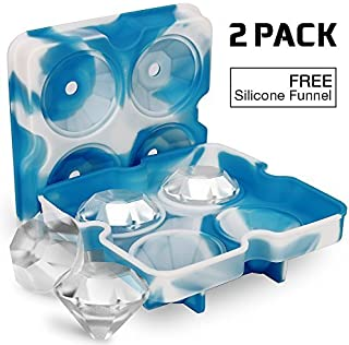 Ice Cube Trays with Lids, Diamond-Shaped Silicone BPA-Free Stackable Easy Release Ice Molds Multifunctional Storage Containers for Ice, Whiskey, Candy and Chocolate by Bella Vino(White&Blue)