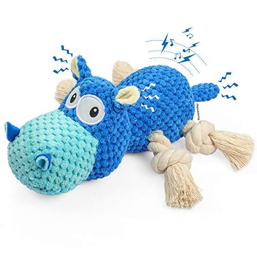 Sunzonsky Spielzeug für Hunde Interaktives Hundespielzeug Unzerstörbar Quietschende Hundespielzeuge mit Baumwollstoff und Knitterpapier Kauknochenspielzeug für große und kleine Hunde