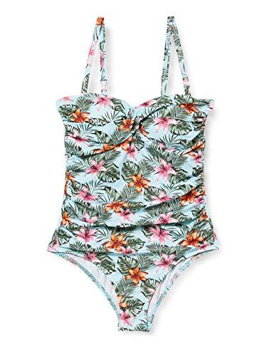 Amazon-Marke: Iris & Lilly Damen Shaping-Badeanzug mit Wickeldesign, Mehrfarbig (Tropical), XXL, Label: XXL