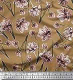 Soimoi Braune Seide Stoff Pfirsich Blumenmuster Handwerk