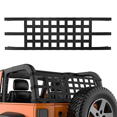 JoyTutus Cargo Net fits Wrangler, Car Top Roof Hammock Mesh Cargo Net for Wrangler JK JKU JL YJ TJ LJ 1997 to 2020 Car Window Cargo Net