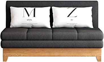 Convertible Sofa Sleeper Couch, Including Pull Out Bed and 2 Lumbar Pillows, Compact Sofabed for Living Room or Bedroom,Bl...