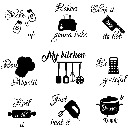 Seajan Quotes Wall Stickers Lettering Wall Decal Home Wall Decal with Sayings Vinyl Funny Utensils Wall Decoration for Fridge Room Restaurant Bar (Kitchen Theme)