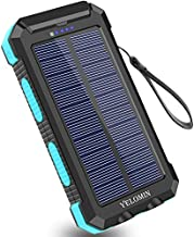 Solar Charger 30000mAh,YELOMIN Portable Outdoor Solar Power Bank with Type-C Input Port Dual Flashlights & USB Outputs High-Speed External Backup Battery Pack for Cellphones,Tablets and More(Blue)