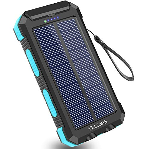Solar Charger 30000mAh,YELOMIN Portable Outdoor Solar Power Bank with Type-C Input Port Dual Flashlights & USB Outputs High-Speed External Backup Battery Pack for Cellphones,Tablets and More (Blue)