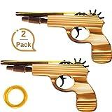 Gejoy 2 Packung Gummiband Pistole Spielzeug Holz und Handgemachte Spielzeug Pistole Einfaches Laden...