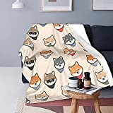 FeHuew Cute Shiba Inu Japanese Dog Soft Throw Blanket 40x50 inch Lightweight Flannel Fleece Blanket for Couch Bed Sofa Travelling Camping for Kids Adults