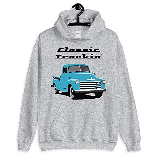 Vintage 1950's Chevy 3100 Pickup Truck Unisex Hoodie Sport Grey