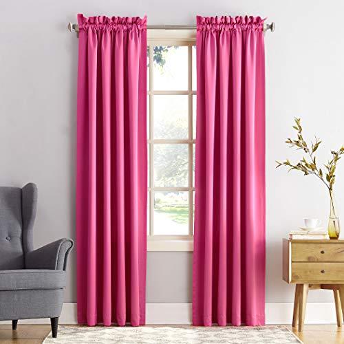 "Sun Zero Barrow Energy Efficient Rod Pocket Curtain Panel,Pink,54"" x 84"""