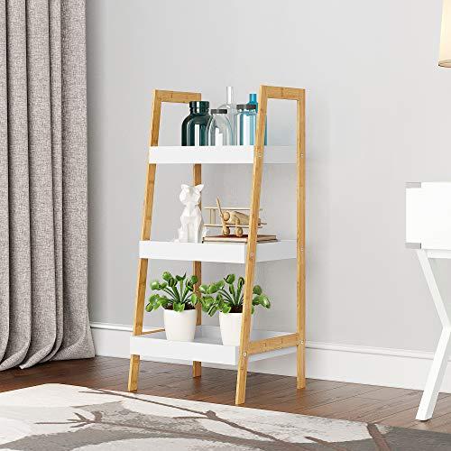 HOMEFORT 3-Tier Ladder Shelf, Bamboo Storage Rack, Freestanding Bookshelf with MDF Shelving, Flower Shelf Plant Display Rack for Kitchen Living Room Home Office.