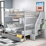 Wood Bunk Beds with Storage Drawers, Full Over Full Bunk Bed with Stairs, 2 Drawers and Storage Shelves for Kids Teens Adult Bedroom Furniture, No Box Spring Needed (Grey)