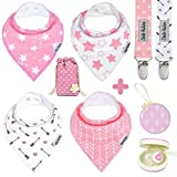 Dodo Babies Baby Bandana Drool Bib Set - 4pc Infant Bibs with 2 Pacifier Clips, Binky Case, Gift-Ready Bag - Soft Absorbent Cotton with Polyester Back - Adjustable Buttons to Fit 3-24 -Month Old Girls