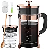 French Press Coffee And Tea Maker With 4 Level Filtration System -100% No Residue -304 Grade Stainless Steel-German Heat-Resistant Borosilicate Glass- BPA FREE-Dishwasherable-34oz,Copper