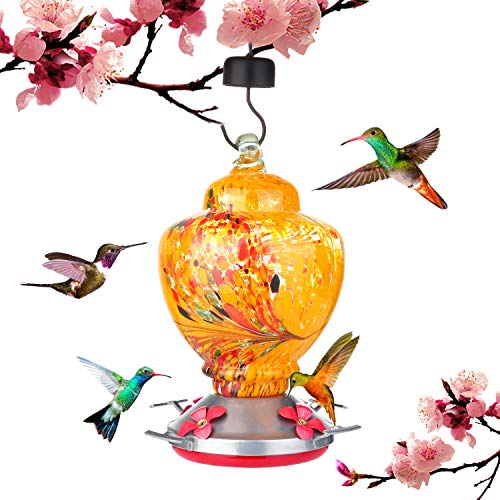 Hummingbird Feeder for Outside Hanging,Glass Hummingbird Feeder,38 Fluid Ounces Hummingbird Feeders Include Hanging Wires and Moat Hook
