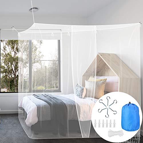 BUZIFU Moskitonetz Einzelbett Mückennetz Fliegennetz Reise Moskitonetz Feinmaschiges Moskitonetz für Bett rechteckiges Camping Netz Insektenschutz Etagenbett, 1 Eintrag, Tragetasche,190 x 100 x 200 cm
