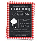 I Do BBQ Bridal Shower Invitations Barbecue Wedding Party Invites Rehearsal Dinner Picnic Couples Gingham Grill Cook Out Chalkboard Plaid Red Black Bachelor Bachelorette Summer Pool Blowout (12 Count)