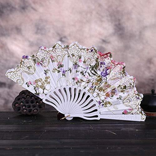 Opvouwbare ventilator,mode Vintage Kant Chinese Stijl Dans Bruiloft Handfans Feestjurk Accessoires Wit Vouwbaar Zomer Held Flowers Fan