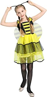 BaronHong Girls Cosplay Bee Fairy Costume Fancy Party Dress Up with Headwear+Wings