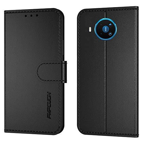 FMPCUON Handyhülle Kompatibel mit Nokia 8.3 5G,Premium Leder Flip Schutzhülle Tasche Hülle Brieftasche Etui Hülle für Nokia 8.3 5G (6.81 Zoll),Schwarz