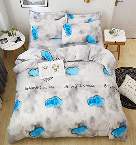 NKJSANFOI Home Textiles Bedding Set 3-4pcs Water Blue Stripes Duvet Cover Bed Sheet Pillowcase Fit Children Adult King Queen Single Size