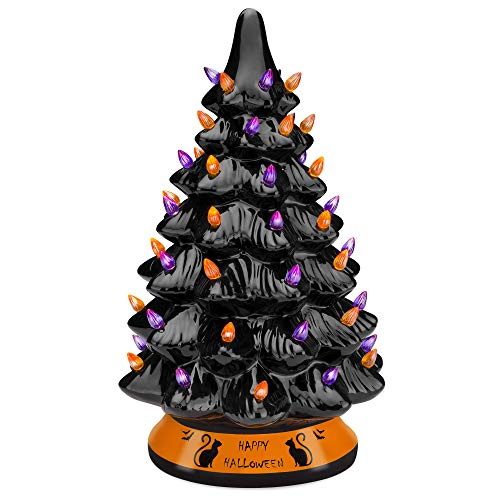 Best Choice Products Pre-Lit 15in Ceramic Tabletop Halloween Tree Holiday Decoration w/Orange & Purple Bulb Lights