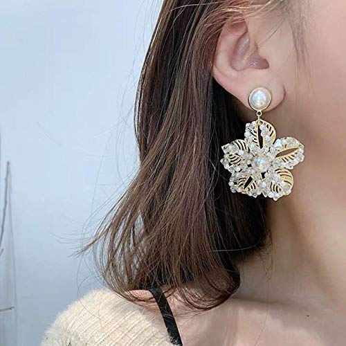 Erin Earring Verano Elegante Joyería Moda Perla Flor Pendientes De Gota Textura Brillante Flores De Cuentas Grandes Pendientes Largos