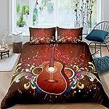Juego de cama de guitarra 3D para niños y niñas, funda de edredón musical ultra suave para instrumentos de guitarra ropa de cama y lino King Zipper