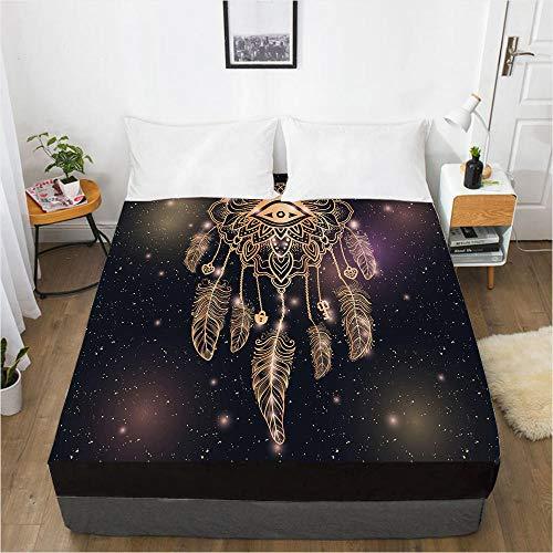 HNLHLY Mattress Cover Creative Digital 3D Bed Sheet Bedspread Mattress Protector Dream Catcher-Bohemian 047-Black-F_135X200X30Cm