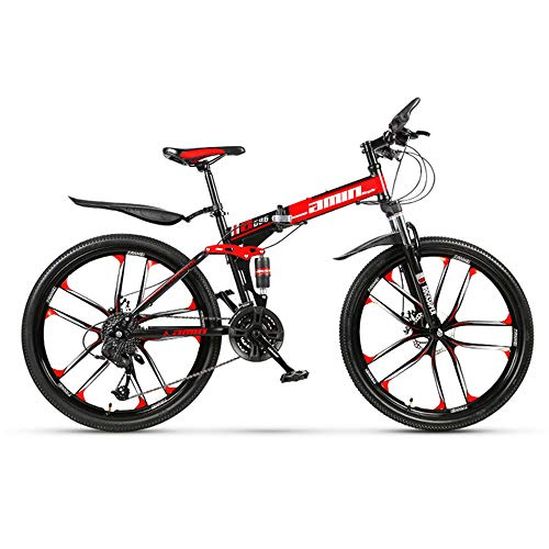 21/24/27/30 Variable Speed Mountain Bike 24 Inch and 26 Inch Folding Mountain Bike Double Damping Disc Brake 10 Cutter Wheel Men and Women Mountain Bike,Red,24in/27speed