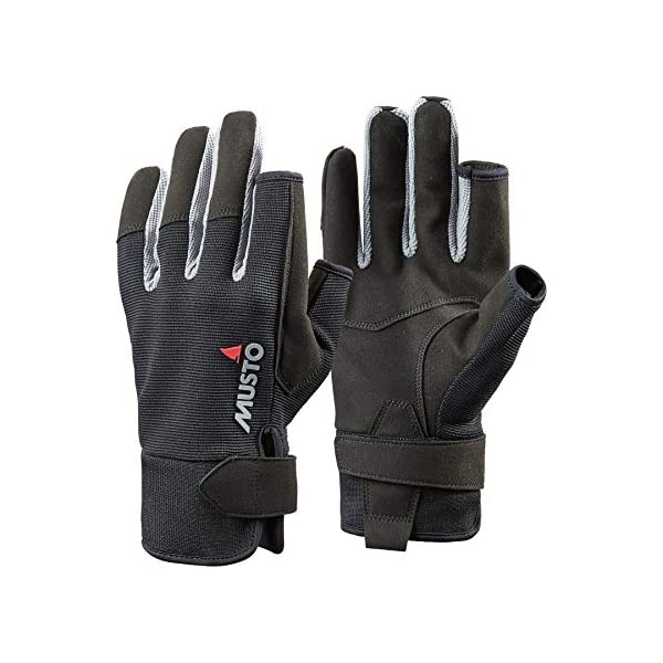 Musto Essential Sailing Long Finger Gloves in Black - Adults Unisex - Great for Sailing All Year Round - Easy Stretch