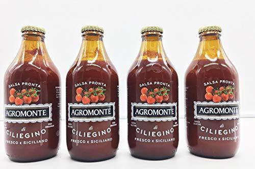 Tomatensauce ohne Zuckerzusatz aus Sizilien, Italien, hergestellt aus rebenreifen Tomaten handverlesen auf dem Höhepunkt der Frische, 333ml (4-Flaschen)