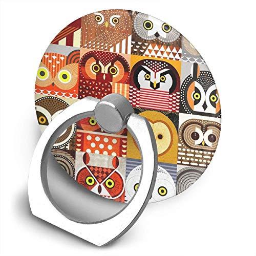 ARRISLIFE North American Owls Soporte para teléfono,Round-Shaped Soporte para Anillo de teléfono Celular,360 Degrees Rotating Soporte de Metal