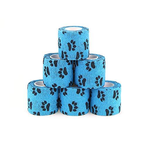MUEUSS Selbstklebende Bandage Selbsthaftende kohäsive Bandagen Erste-Hilfe-Folie wasserdichte elastische Vliesbandage für Finger Toe Tiere Heimtiersportbedarf FDA (Blauklaue, 6Rollen, 2 '' x 5yds)